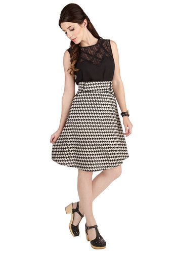 Striking Impression Skirt by Mata Traders - A-line, Better, Black/White, Cotton, Woven, Houndstooth, Work, 90s, Fall, Mid-length, Black, White, Vintage Inspired, Press Placement
