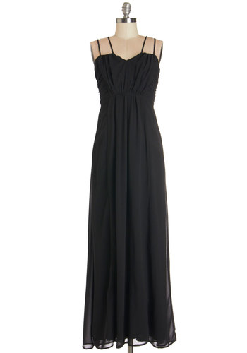 Generations of Elegance Dress - Black, Solid, Casual, Beach/Resort, Maxi, Sleeveless, Good, Chiffon, Woven, Ruching, Long