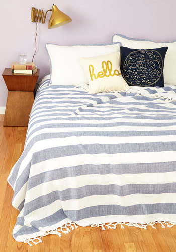 Maritime to Sleep Bedspread Set in Queen by Karma Living - Cotton, Woven, Blue, Stripes, Nautical, Best, White, Graduation, Spring