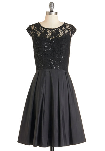 Dancing at Dusk Dress - Black, Solid, Lace, Sequins, Special Occasion, Prom, Vintage Inspired, 50s, Fit & Flare, Cap Sleeves, Woven, Better, Scoop, Long, Mixed Media, Lace, Pleats, Wedding, Bridesmaid, Homecoming, Holiday Party