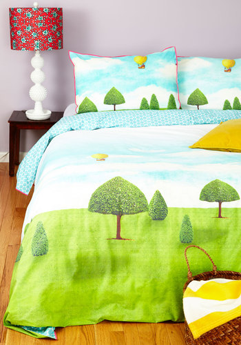 Floating Off to Sleep Duvet Cover Set in Queen - Cotton, Woven, Multi, Quirky, Best, Graduation