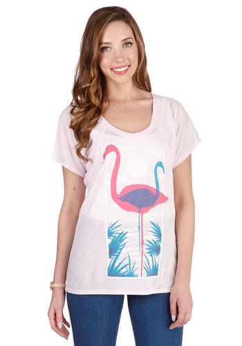 Wade Me Up Before You Flamingo Tee - Mid-length, Knit, Pink, Multi, Print with Animals, Beach/Resort, Short Sleeves, Pink, Short Sleeve, Bird, Woodland Creature