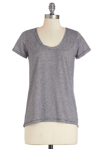 Stop and Say Mellow Top - Mid-length, Knit, Grey, Stripes, Casual, Short Sleeves, Scoop, Grey, Short Sleeve