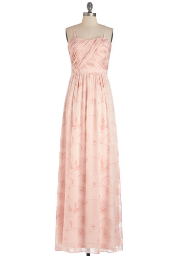 Perfumed in Elegance Dress by Erin Fetherston - Long, Chiffon, Woven, Pink, Floral, Special Occasion, Prom, Maxi, Sleeveless, Summer, Best, Sweetheart, Wedding, Bridesmaid, Valentine's