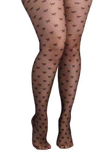 Give It a Bow Tights in Plus Size - Sheer, Knit, Black, Novelty Print, Bows, Party