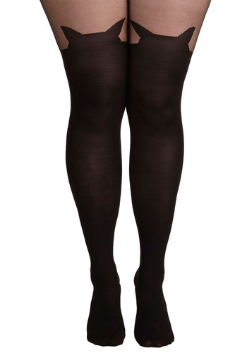 Meow We're Talkin' Tights in Plus Size - Sheer, Knit, Black, Solid, Cats, Fall, Halloween, Party