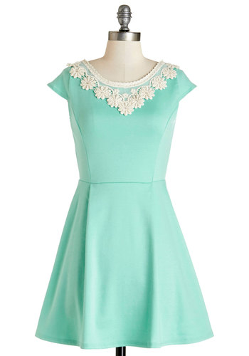 Akin to Audrey Dress - Pastel, Short, Mint, Tan / Cream, Solid, Crochet, Pearls, A-line, Cap Sleeves, Daytime Party, Spring, Rhinestones, Beads, Summer, Show On Featured Sale