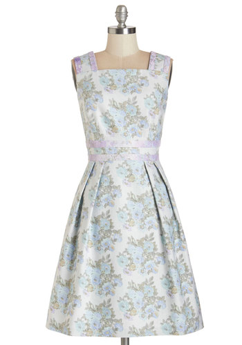 Bring a Bouquet Dress - Multi, Floral, Lace, Pleats, Pockets, Daytime Party, A-line, Sleeveless, Summer, Woven, Better, Pastel, Print, Mid-length