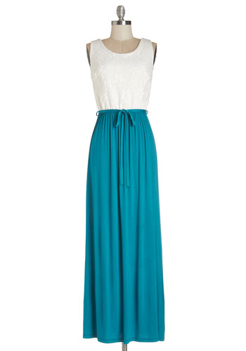Cute Collaboration Dress in Teal - Blue, White, Belted, Casual, Beach/Resort, Maxi, Sleeveless, Summer, Knit, Good, Scoop, Long, Variation