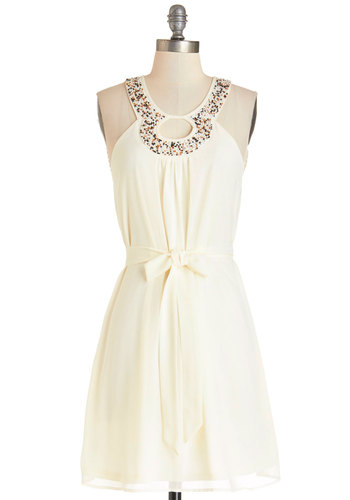 Seeds of Style Dress - Cream, Brown, Beads, Cutout, Belted, Casual, A-line, Sleeveless, Summer, Woven, Good, Mid-length, Chiffon, Daytime Party