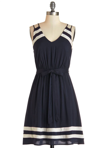 Highs and Billows Dress - Blue, White, Stripes, Cutout, Belted, Casual, Nautical, Americana, A-line, Sleeveless, Summer, Woven, Good, V Neck, Mid-length, Social Placements
