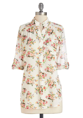 Along the Breezeway Top - Long, Chiffon, Sheer, Woven, Floral, Work, Casual, Vintage Inspired, French / Victorian, Short Sleeves, Spring, Summer, Good, Collared, White, Tab Sleeve, Cream, Multi