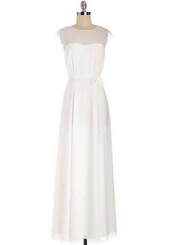 Just Sway the Word Dress - Long, Chiffon, Woven, White, Solid, Special Occasion, Wedding, Bride, Maxi, Cap Sleeves, Better, Belted, Exclusives, Social Placements, Full-Size Run, Private Label