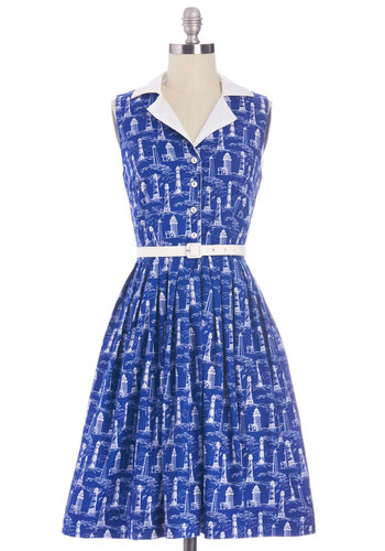 Beacon of Charm Dress in Coast by Bea & Dot - Cotton, Woven, Blue, White, Novelty Print, Buttons, Belted, Casual, A-line, Sleeveless, Better, Collared, Nautical, Exclusives, Full-Size Run, Long