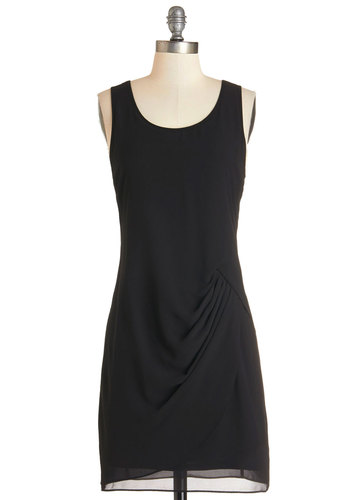 Symphony Stunning Dress - Black, Solid, Party, LBD, Shift, Sleeveless, Woven, Good, Scoop, Mid-length, Chiffon
