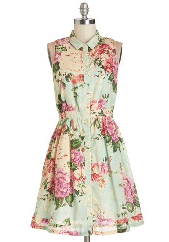 RTV CLOSED (7/28/14): Botanical Occasion Dress - Multi, Floral, Buttons, A-line, Sleeveless, Summer, Woven, Better, Collared, Mid-length, Casual, Sundress