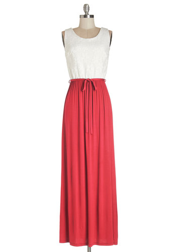 Cute Collaboration Dress in Red - Red, White, Casual, Americana, Maxi, Sleeveless, Summer, Knit, Good, Scoop, Jersey, Belted, Long