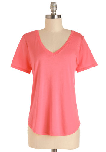 Plain and Simply Sweet Top in Grapefruit - Mid-length, Knit, Pink, Solid, Casual, Short Sleeves, Spring, Summer, Variation, Pink, Short Sleeve, Basic, Good