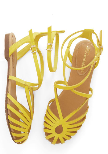 Boardwalk Lemonade Sandal - Flat, Faux Leather, Yellow, Solid, Casual, Daytime Party, Beach/Resort, Spring, Summer, Good, Strappy