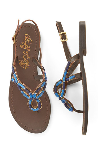 Colors of the Water Sandal in Tide - Flat, Leather, Blue, Brown, Solid, Beads, Cutout, Casual, Beach/Resort, Spring, Summer, Better, Slingback, Variation