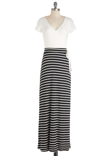 Bringing Up Maxi Dress - Black, White, Stripes, Casual, Maxi, Short Sleeves, Knit, Good, V Neck, Long, Jersey