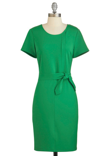 State of the Start-Up Dress - Green, Solid, Work, Casual, Vintage Inspired, 60s, Shift, Short Sleeves, Knit, Better, Scoop, Mid-length