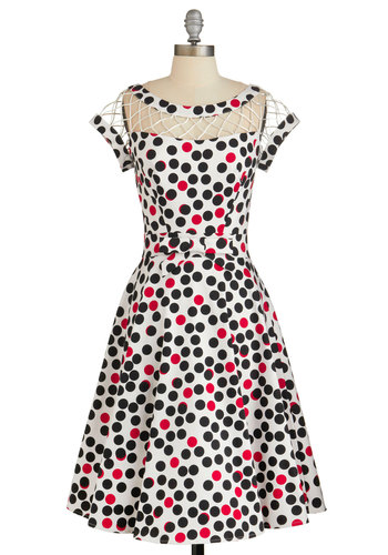 With Only a Wink Dress in Dots by Tatyana - Multi, Polka Dots, Bows, Special Occasion, Prom, A-line, Cap Sleeves, Better, Vintage Inspired, 50s, Variation, Long, Cotton, Sheer, Woven, Daytime Party