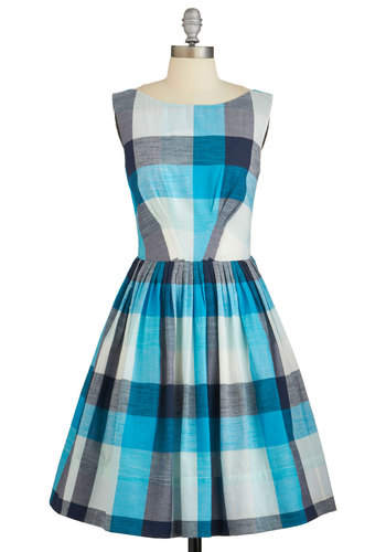 Daytrip Darling Dress in Plaid by Emily and Fin - Plaid, Casual, A-line, Sleeveless, Summer, Woven, Better, International Designer, Variation, Boat, Cotton, Blue, Mid-length
