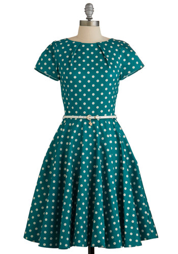 Like a Lucky Lady Dress by Closet - Variation, White, Polka Dots, Belted, Casual, Fit & Flare, Woven, Better, Scoop, Long, Green, Pockets, Short Sleeves