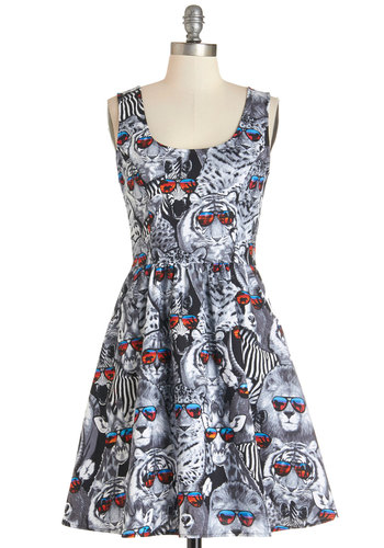 Sunny Days Dress - Multi, Print with Animals, Pockets, Casual, A-line, Sleeveless, Woven, Better, Mid-length, Cotton, Critters, Top Rated, Full-Size Run