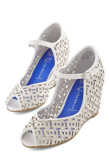 Croquet Sera, Sera Wedge by Jeffrey Campbell - Mid, Leather, White, Solid, Cutout, Summer, Peep Toe, Wedding, Daytime Party
