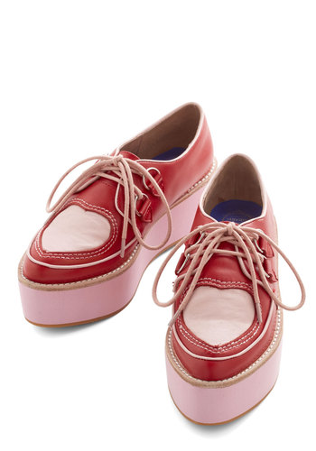 Tread the Love Flatform by Jeffrey Campbell - Mid, Leather, Red, Pink, Valentine's, Statement, Quirky, Best, Wedge, Lace Up, Novelty Print