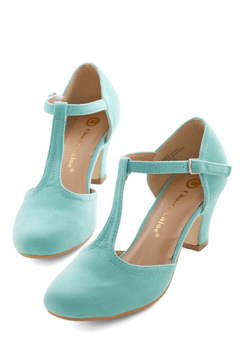 Hep in Your Step Heel in Aqua - Mid, Mint, Solid, Prom, Wedding, Party, Daytime Party, Vintage Inspired, 20s, 30s, Minimal, Good, T-Strap, Variation, Social Placements
