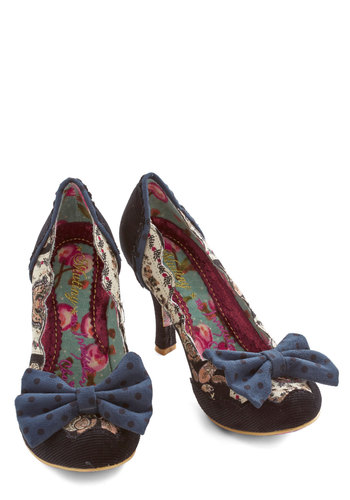Quintessence of Texture Heel by Irregular Choice - Mid, Woven, Corduroy, Black, Multi, Polka Dots, Bows, Scallops, Party, Statement, Best, Paisley