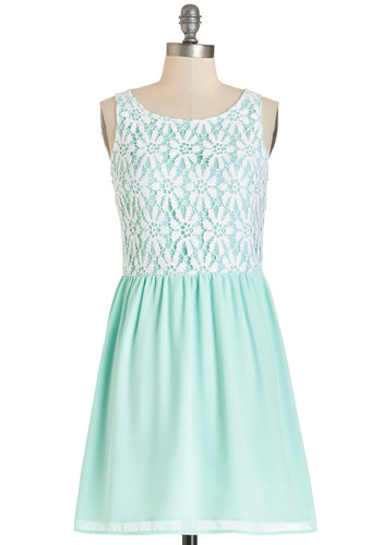 The Sea and Me Dress - Mint, White, Lace, Casual, Pastel, A-line, Sleeveless, Summer, Woven, Better, Scoop, Mid-length, Lace, Social Placements