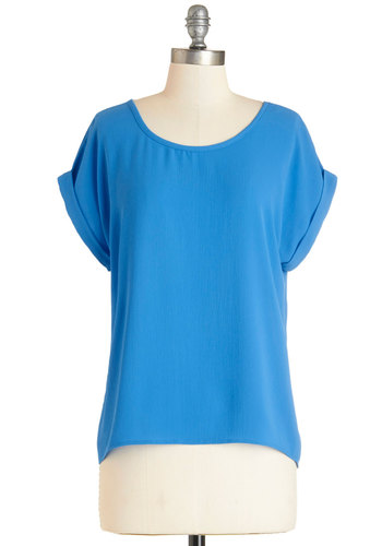 Beginner Buzz Top - Blue, Short Sleeve, Mid-length, Woven, Blue, Solid, Work, Casual, Minimal, Short Sleeves, Good, Scoop, Bows