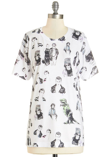 Seren-Depp-ity Tee - Mid-length, Knit, White, Novelty Print, Casual, Quirky, Short Sleeves, Best, Crew, White, Short Sleeve, Black, Vintage Inspired, 90s, Gals, Guys