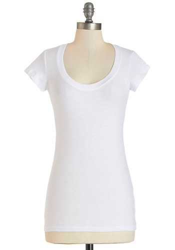 What's the Scoop Neck Tee in White - Mid-length, Cotton, Knit, White, Solid, Casual, Minimal, Good, Scoop, White, Short Sleeve, Cap Sleeves, Variation, Basic, Top Rated
