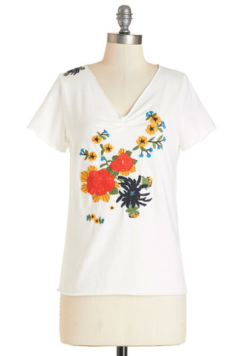 Wild Garden Top - White, Floral, Embroidery, Casual, Short Sleeves, Spring, Summer, V Neck, White, Short Sleeve, Mid-length, Knit, Good