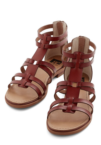 Return to Style Sandal in Cherrywood by BC Footwear - Brown, Solid, Casual, Boho, Spring, Summer, Better, Strappy, Low, Faux Leather, Social Placements
