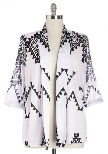 Lazing and Stargazing Cardigan in Plus Size - Print, Casual, Knit, White, Beach/Resort, Boho, Festival, 3/4 Sleeve, Better, White, 3/4 Sleeve, Black, Top Rated