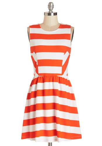 Synchronized Shindig Dress in Scarlet - Orange, White, Stripes, Casual, Sundress, A-line, Sleeveless, Summer, Good, Scoop, Knit, Short, Show On Featured Sale