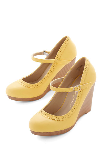 Bon Anniversaire Wedge in Lemon - Mid, Faux Leather, Yellow, Solid, Wedding, Work, Daytime Party, Graduation, Spring, Summer, Wedge, Espadrille, Mary Jane, Social Placements