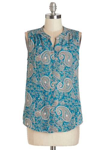 Paisley Days Top - Mid-length, Woven, Blue, Paisley, Work, Casual, Boho, Sleeveless, Spring, Summer, Good, Blue, Sleeveless