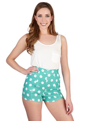 Seafare Thee Well Shorts - Blue, Polka Dots, Novelty Print, Pockets, Casual, Nautical, Good, Blue, Woven, Beach/Resort, Spring, Summer, Ultra High Rise, Non-Denim, Short, White
