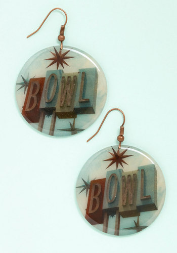 Rockin' and A-Bowlin' Earrings - Blue, Multi, Novelty Print, Americana, Spring, Summer, Blue, Rockabilly