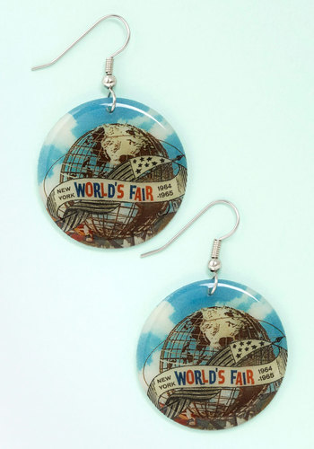 World's Fair Thee Well Earrings - Blue, Multi, Americana, Spring, Summer, Blue, Novelty Print
