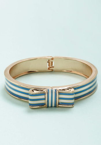Drive-Ins and Moonlight Bracelet - Blue, White, Stripes, Nautical, Americana, Spring, Summer, Gold, Exclusives