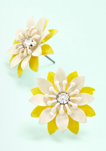 Breezy Rider Earrings - Yellow, White, Solid, Flower, Rhinestones, Americana, Spring, Summer, Exclusives, Yellow, Statement, 60s, Top Rated