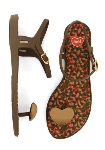 Got a Heart of Gold Sandal by Mel Shoes - Flat, Brown, Solid, Casual, Summer, Social Placements